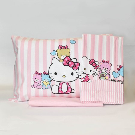 Lenzuola Di Hello Kitty.Little Friends Hello Kitty Completo Lenzuola Lettino Gabel